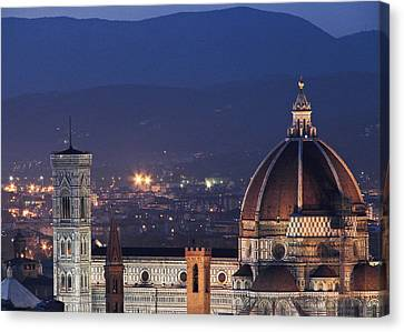 Canvas Print featuring the photograph Duomo At Night Florence Italy by Sally Ross