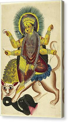 Durga As Jagaddhatri Riding On Her Lion Canvas Print