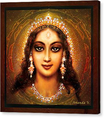 Durga In The Sri Yantra - Dark Canvas Print by Ananda Vdovic