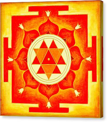 Chakra Therapy Canvas Print - Durga Yantra Is A Powerful Yantra For Transformation Of Consciousness by Raimond Klavins