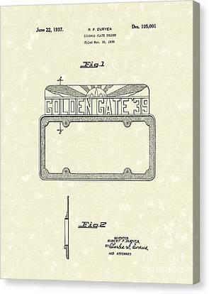 Duryea License Holder 1937 Patent Art Canvas Print by Prior Art Design