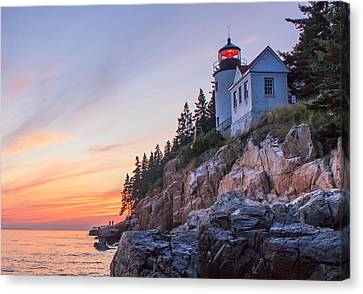 Dusk At Bass Harbor Light Canvas Print by Stephen Beckwith