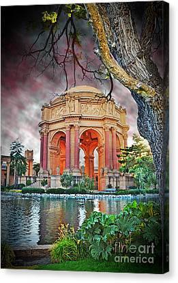 Dusk At The Palace Of Fine Arts In The Marina District Of San Francisco II Altered Version Canvas Print