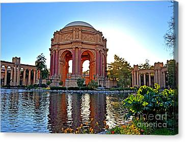 Dusk At The Palace Of Fine Arts In The Marina District Of San Francisco Canvas Print by Jim Fitzpatrick