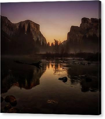 Dusk At Valley View Yosemite National Park Canvas Print