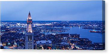 Dusk Boston Massachusetts Usa Canvas Print by Panoramic Images