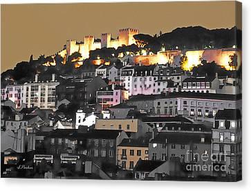 Dusk Falls On St. George Castle Lisbon Canvas Print by Linda  Parker