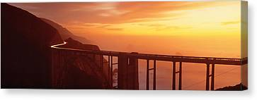 Dusk Hwy 1 W Bixby Bridge Big Sur Ca Usa Canvas Print by Panoramic Images