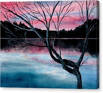 Dusk Lake Arrowhead Maine  Canvas Print
