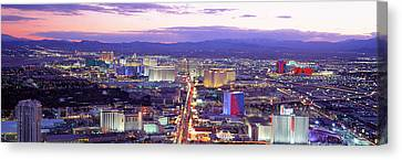 Dusk Las Vegas Nv Usa Canvas Print by Panoramic Images