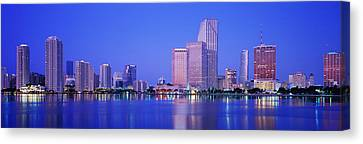 Dusk, Miami Florida, Usa Canvas Print by Panoramic Images