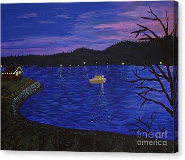 Dusk On Puget Sound Canvas Print by Vicki Maheu