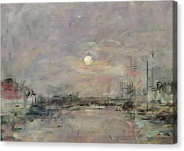 Dusk On The Commercial Dock At Le Havre Canvas Print by Eugene Louis Boudin