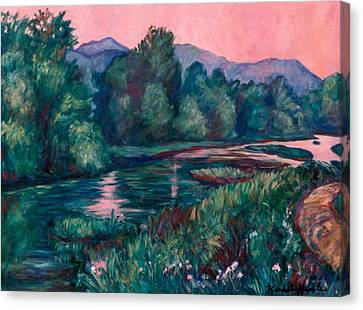Dusk On The Little River Canvas Print by Kendall Kessler