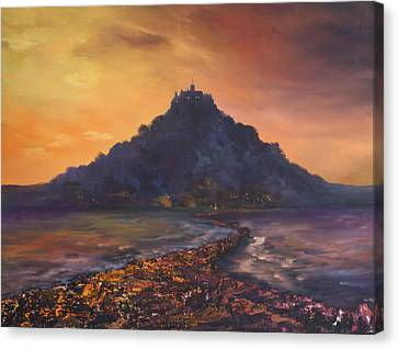 Canvas Print featuring the painting Dusk Over St Michaels Mount Cornwall by Jean Walker