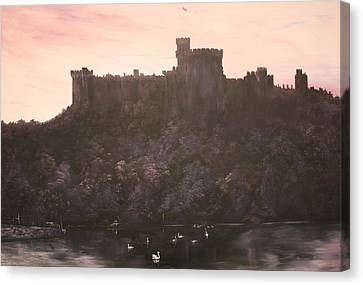 Canvas Print featuring the painting Dusk Over Windsor Castle by Jean Walker