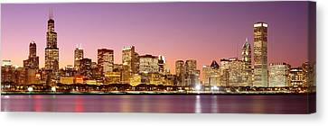 Dusk Skyline Chicago Il Usa Canvas Print by Panoramic Images