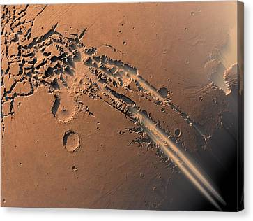 Dust Storms On Mars Canvas Print by Detlev Van Ravenswaay
