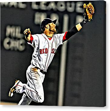 Dustin Pedroia Painting Canvas Print