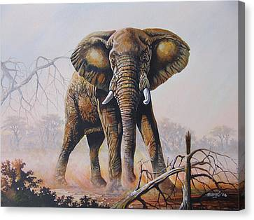 Canvas Print featuring the painting Dusty Jumbo by Anthony Mwangi