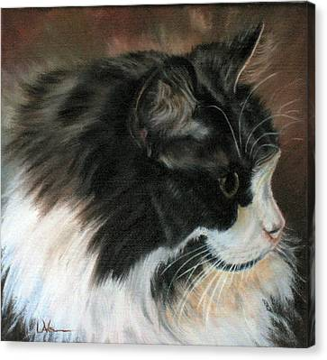 Canvas Print featuring the painting Dusty Our Handsome Norwegian Forest Kitty by LaVonne Hand