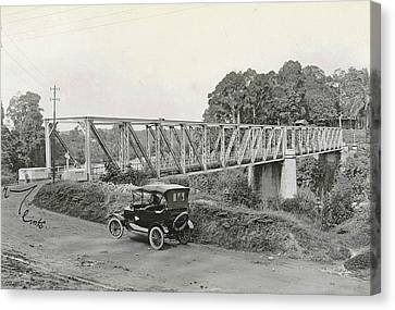 Dutch East Indies, Indonesia, Bridge Over Batang Toro Car Canvas Print by Artokoloro