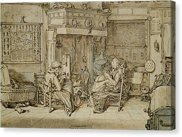 Dutch Interior, 1617 Pen, Ink And Brush On Paper Canvas Print by Willem Pietersz Buytewech