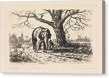 Dutch Landscape With An Elephant And Supervisor Canvas Print by Elias Stark