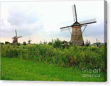 Dutch Landscape With Windmills Canvas Print by Carol Groenen
