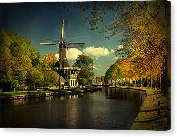 Canvas Print featuring the photograph Dutch Windmill by Annie Snel