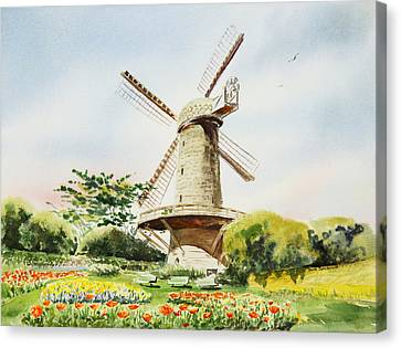 Dutch Windmill In San Francisco  Canvas Print by Irina Sztukowski