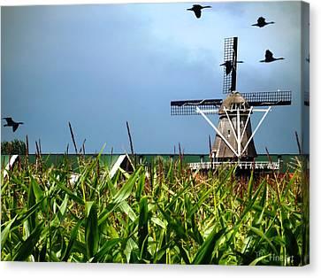 Dutch Windmill In Summer Canvas Print by Yvon van der Wijk