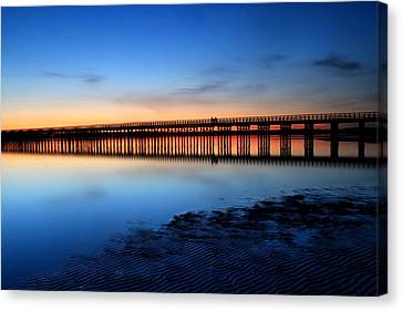 Duxbury Beach Powder Point Bridge Twilight Canvas Print by John Burk