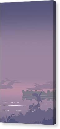 Abstract Tropical Birds Sunset Large Pop Art Nouveau Landscape 4 - Right Side Canvas Print