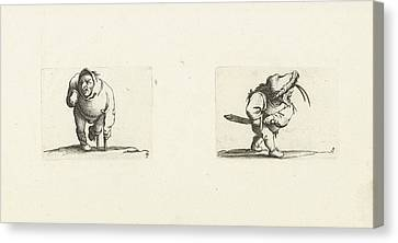 Crutch Canvas Print - Dwarf, From The Front, Leaning On A Crutch, A Hood Or Large by Jacques Callot