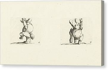 Dwarf With Bottle And Glass, Drink Spilling Dwarf Canvas Print by Jacques Callot And Abraham Bosse