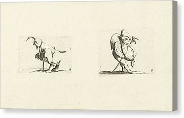 Dwarf With Sling, Stool And Sword Dwarf With Walking Stick Canvas Print by Jacques Callot And Abraham Bosse