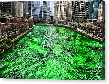 Dyeing The Chicago River Green Canvas Print