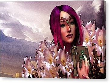 Canvas Print featuring the painting Dymphna Lily Of Fire by Suzanne Silvir