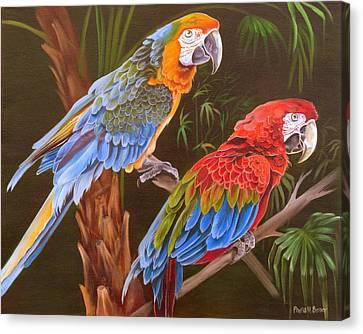 Canvas Print featuring the painting Dynamic Duo by Phyllis Beiser