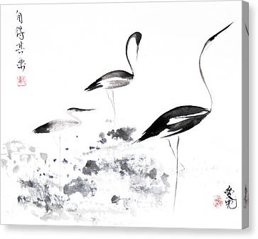 Crane Canvas Print - Each Finds Joy In His Own Way by Oiyee At Oystudio