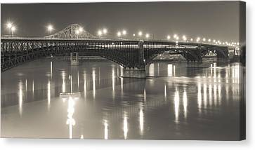 Canvas Print featuring the photograph Eads Bridge And Train by Scott Rackers