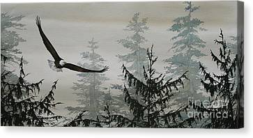 Eagle And Cedars Canvas Print by James Williamson