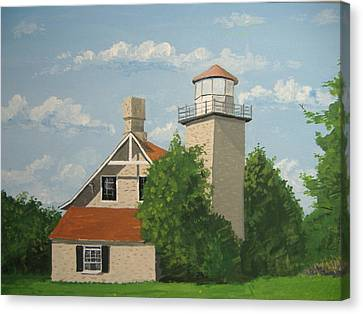 Canvas Print featuring the painting Eagle Bluff Lighthouse Wisconsin by Norm Starks