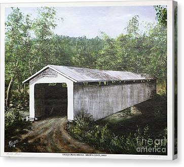 Eagle Creek Covered Bridge Brown County Ohio Canvas Print by Rita Miller