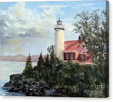 Canvas Print featuring the painting Eagle Harbor Light by Lee Piper
