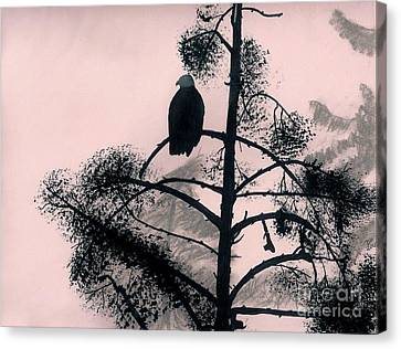 Canvas Print featuring the drawing Eagle In Pink Sky by D Hackett