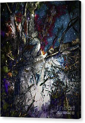 Eagle In Winter Canvas Print by Nancy TeWinkel Lauren