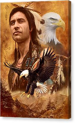 Native American Spirit Portrait Canvas Print - Eagle Montage by Garry Walton