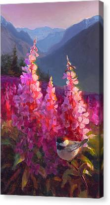 Eagle River Summer Chickadee And Fireweed Alaskan Landscape Canvas Print by Karen Whitworth